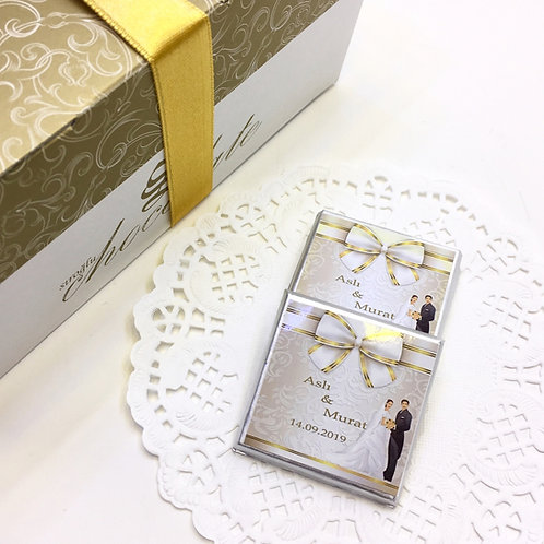 Bride / Groom - 60 Pieces of Written Madlen Chocolates - Promise and Engagement