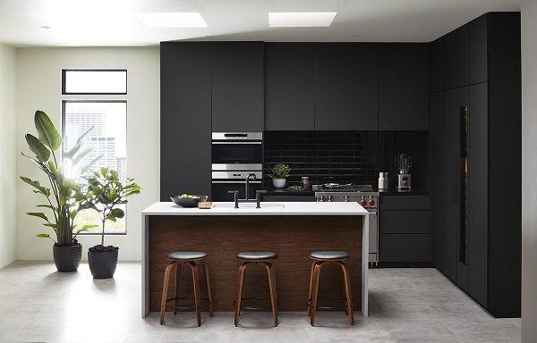 Black Cabinets Modern Kitchen