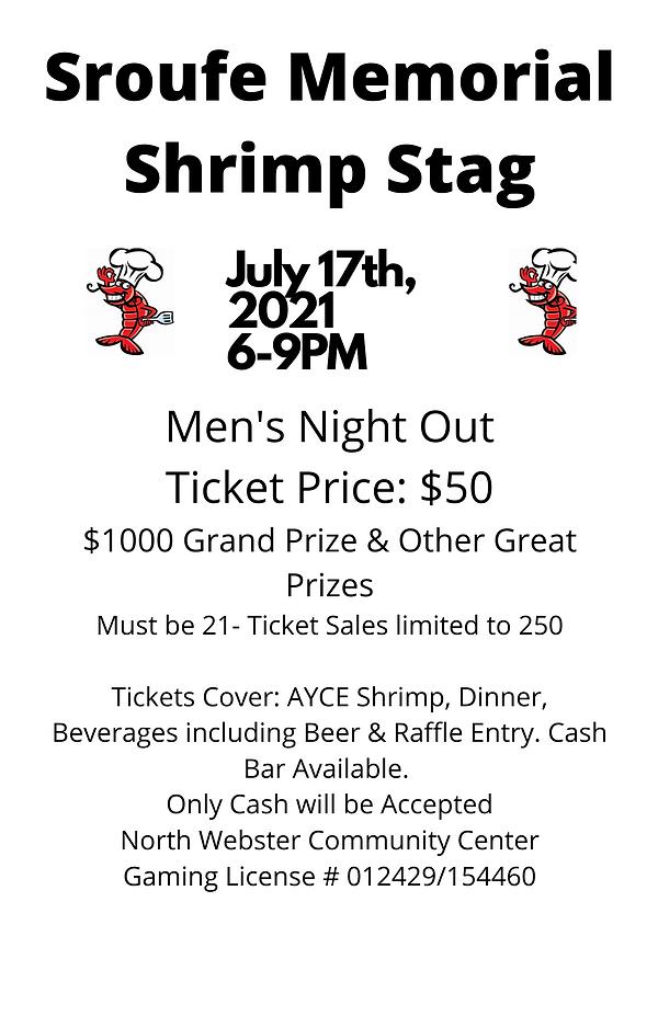 Sroufe Memorial Shrimp Stag Canva Flyer.