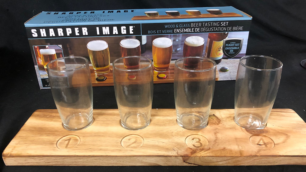 Wood and Glass Beer tasting Table