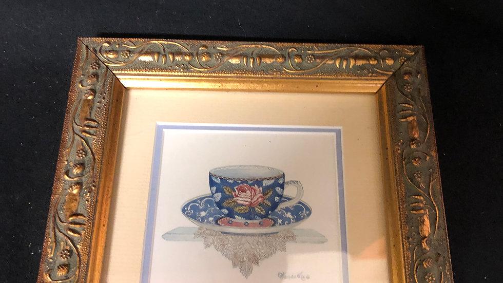 Tea cup set of 3 paintings 18.5x18.5cm