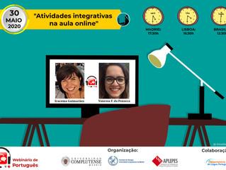 """Webinário sobre """"Atividades integrativas na aula online"""". Dia 30 de maio."""