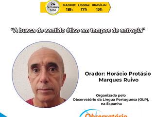 """XII Webinário de Português: """"A busca de sentido ético em tempos de entropia"""". Dia 24 de outubro."""