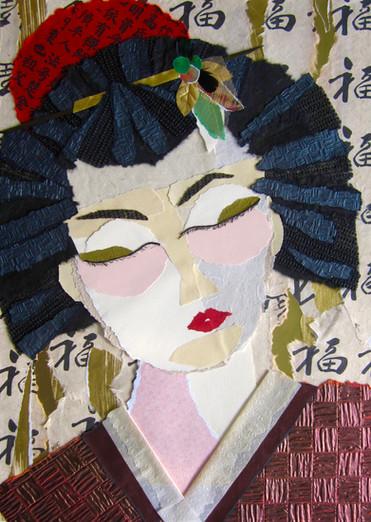 """GEISHA 2008  La femme effacée Concealed Woman  Papiers, textile vinyle, laine, plumes et composante végétale Papers, vinyl, wool, feathers and organic element  20""""x 28"""" Sans encadrement/ Unframed"""