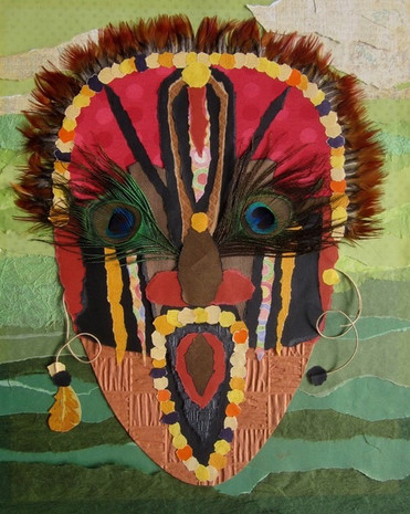 """MASQUE 2008 MASK  Papiers, plumes et cordelette Papers, feathers and string  16""""x 20"""" Collection privée /Private collection"""