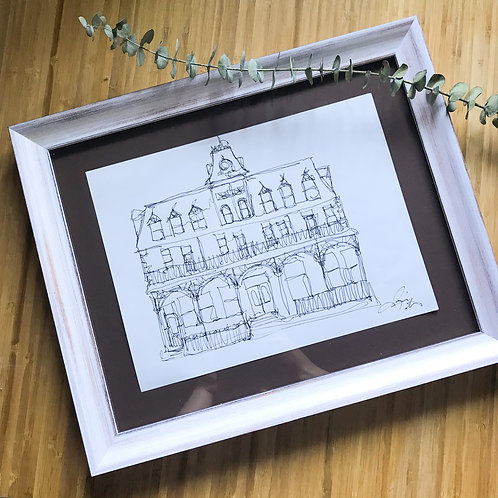 Prince George Hotel- Contemporary Illustration in Custom Frame