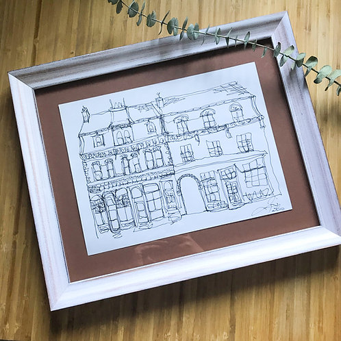Kingston Brew Pub- Contemporary Illustration in a Custom Frame