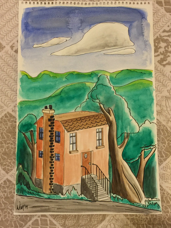 Here's another watercolor illustration, with European inspired scenery.