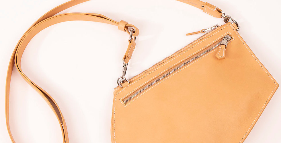 Crossbody pouch - Zip Maxi Cut - Natural
