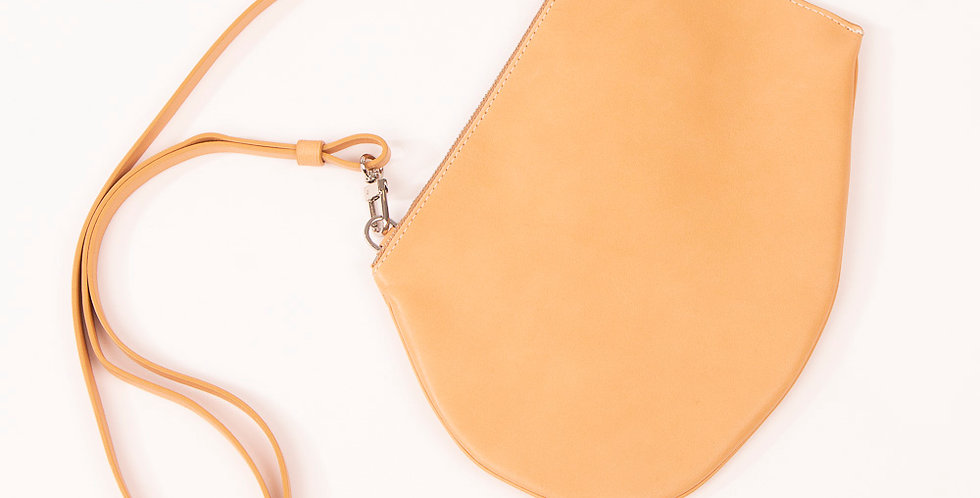 Pochette bandoulière - Zip Maxi - Cuir naturel