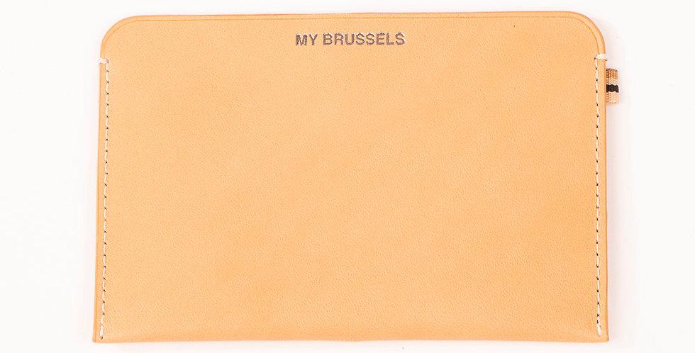 Porte passeport et portefeuille RFID - Travel My Brussels - Cuir naturel