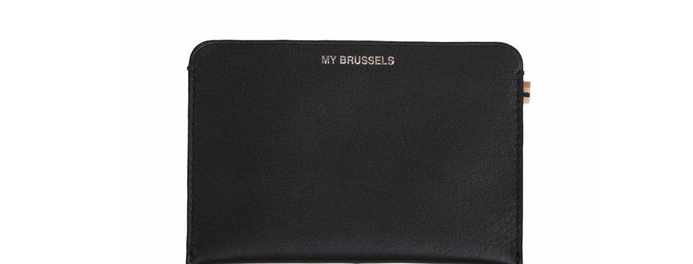 Portefeuille et porte passeport RFID - Travel My Brussels - Cuir noir
