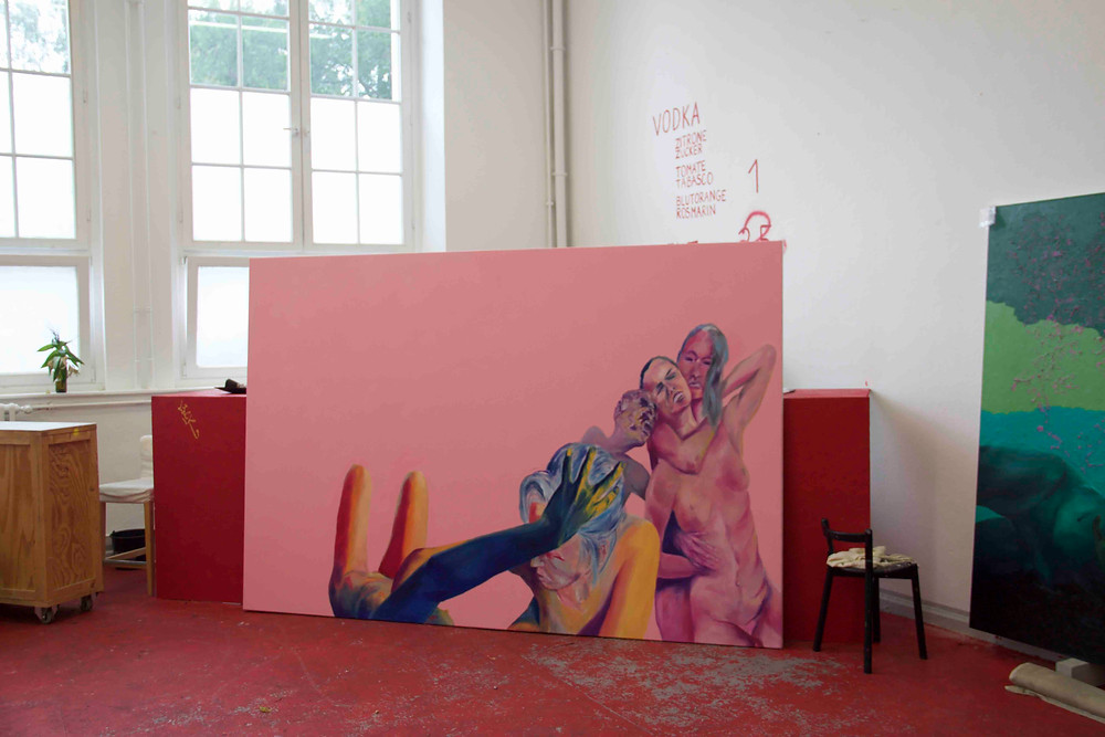 David Mildner, unfinished work in studio, oil on canvas, 200x300cm