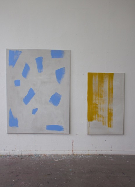 Franziska Beilfuß, two works in the studio from her Oszillation series