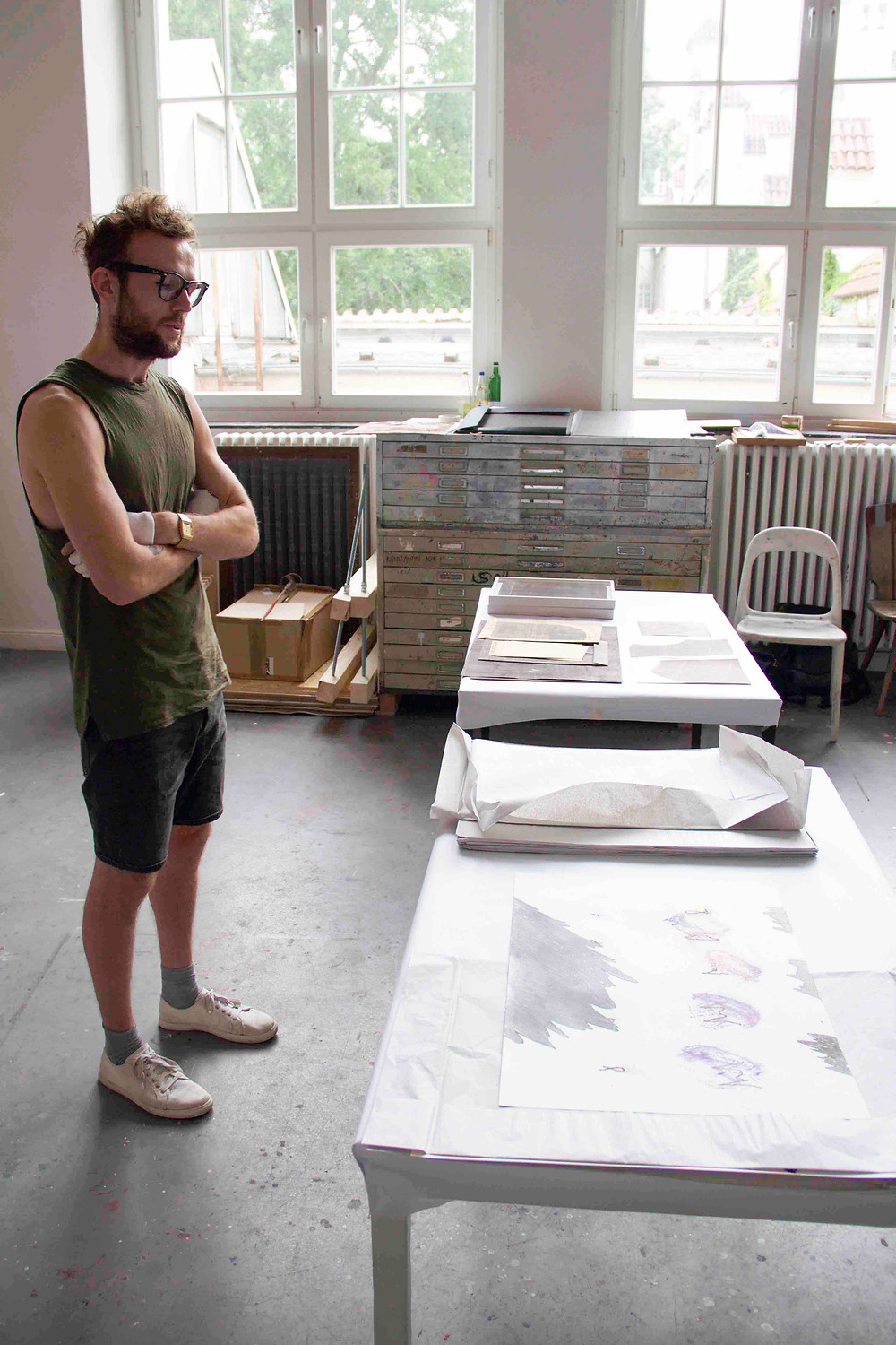 Felix Baxmann in his studio at UdK Berlin