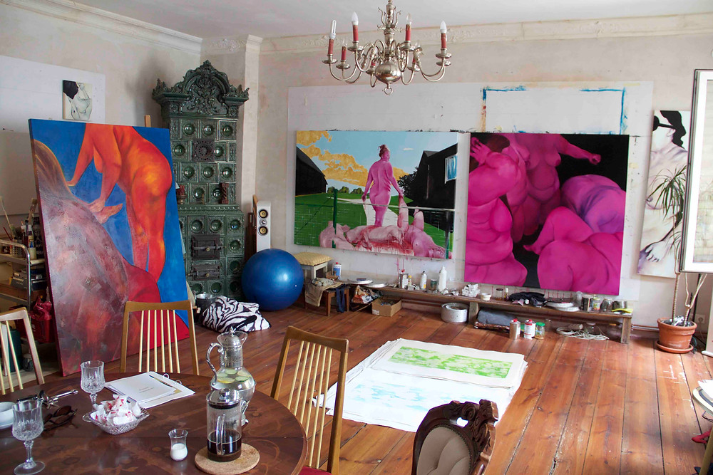 David Mildner - view of artist studio with paintings and etchings