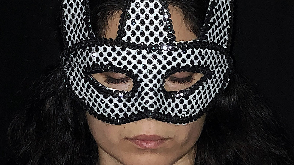 Black and White Jester Mask