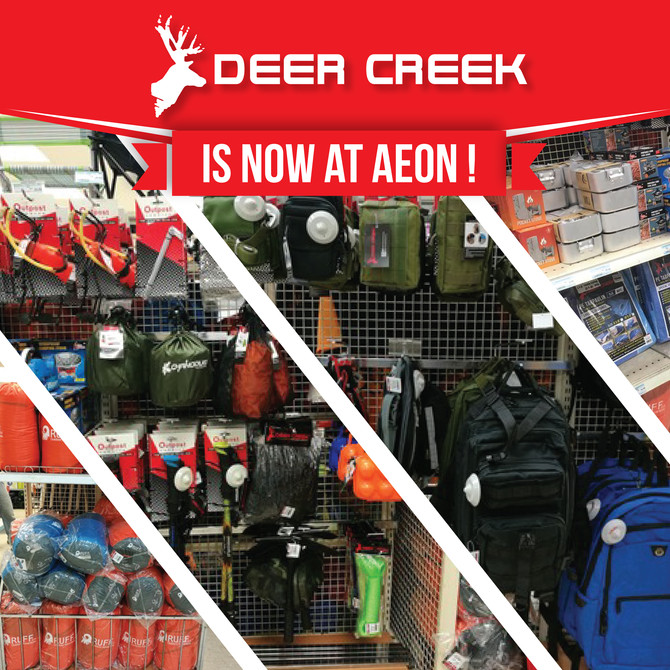 Deer Creek camping and outdoor equipment is now available at AEON Retail Malaysia