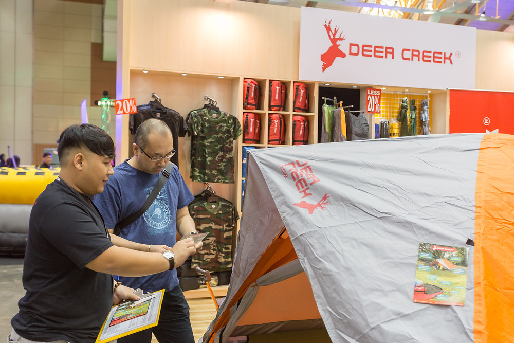 Customer Viewing Deer Creek Tent