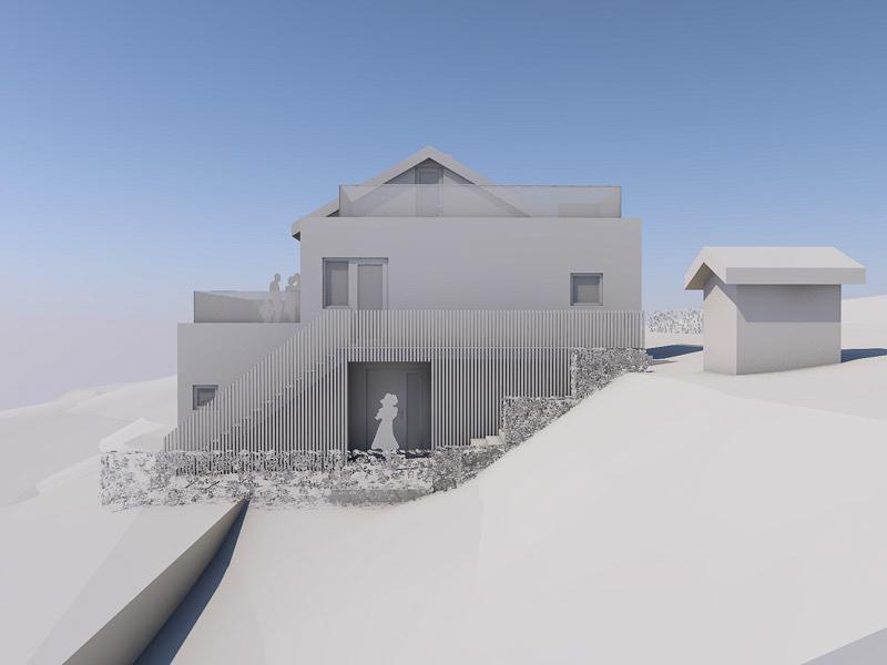 Fasade mot øst - 3D