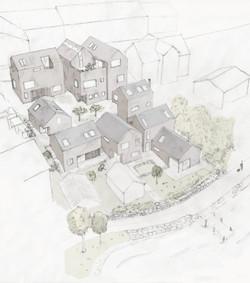 Nye boliger organisert i et tun.