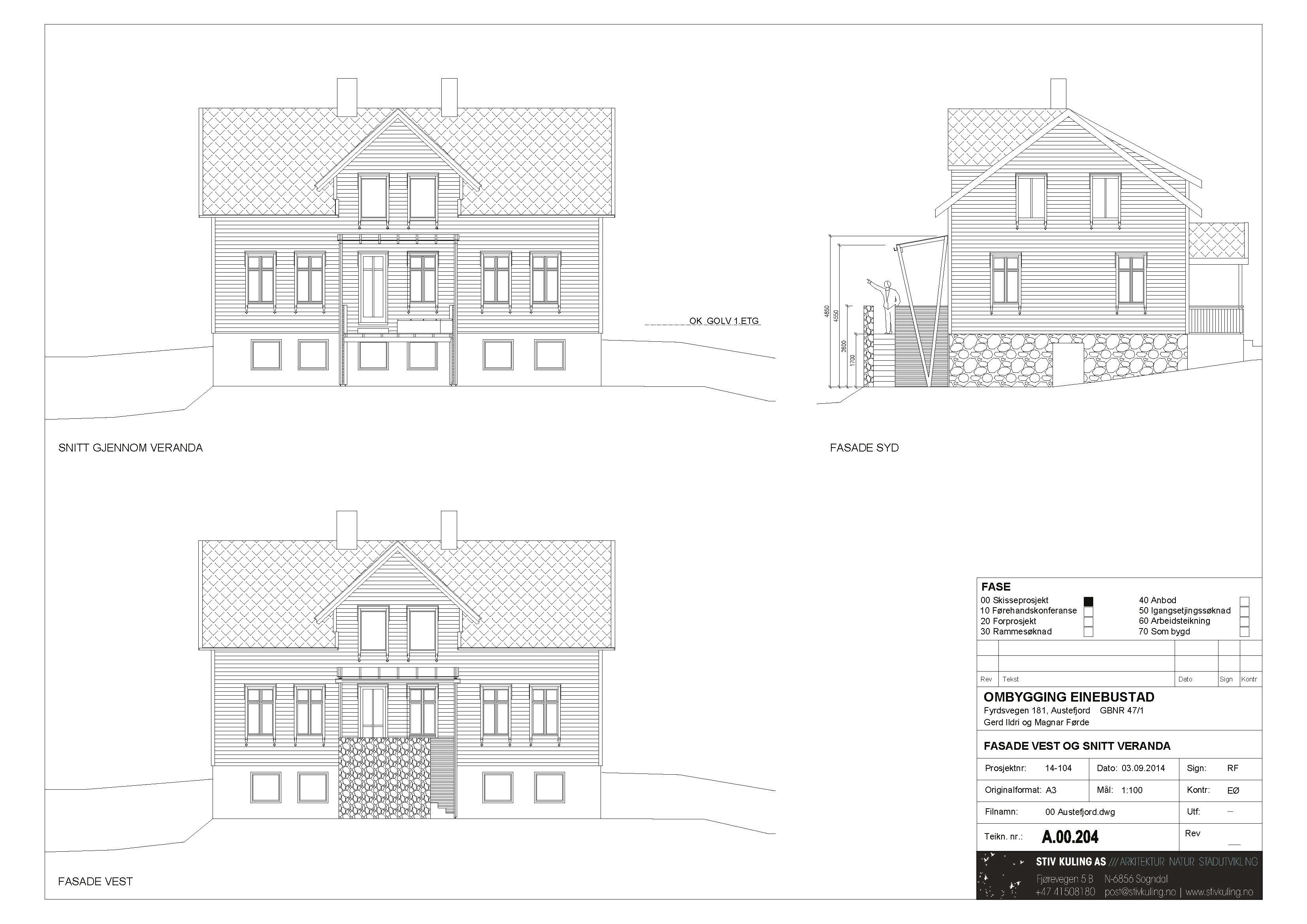 Fasader med ny veranda