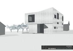 3D-illustrasjon fasade og hage