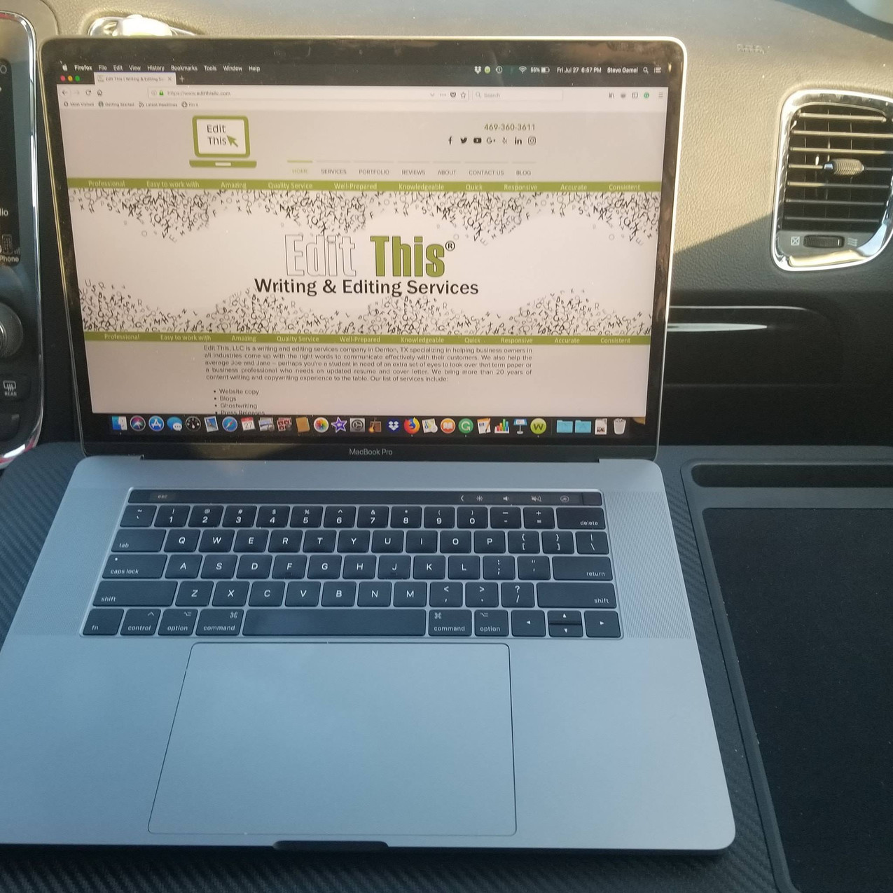 Writers write in unusual places. This is me writing in the car on our way to Houston.