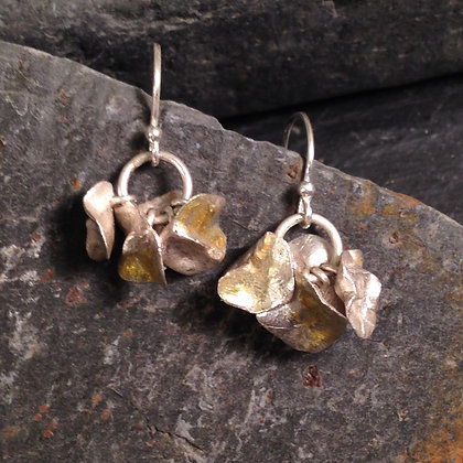 Fine silver and gold cluster earrings