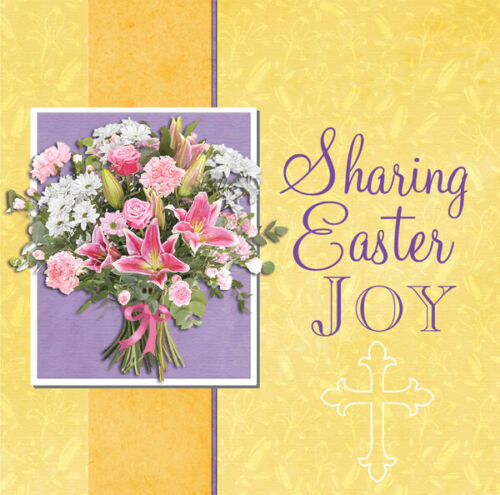 Pack of 8 Identical Christian Charity Easter Cards + Bible Text