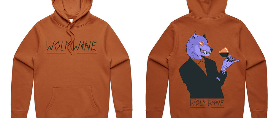 PRE ORDER Limited Edition 2021 Wolf Wine Heavy Weight Rust Hoodie