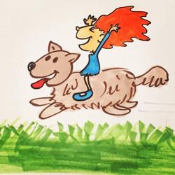 Girl riding her dog