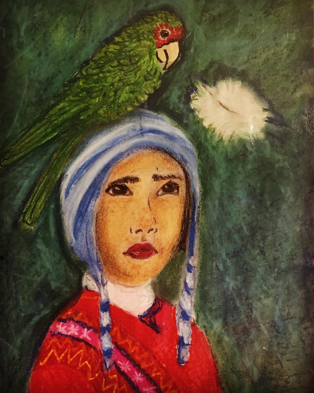 Girl and Parrot