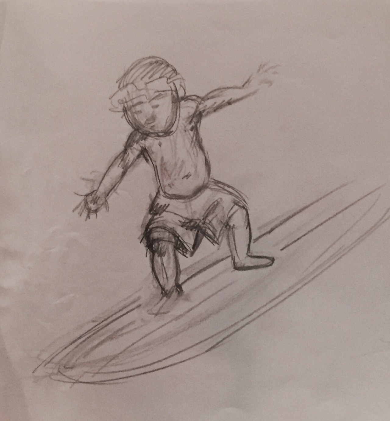 Hawian boy surfing