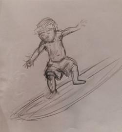 Hawian boy surfing