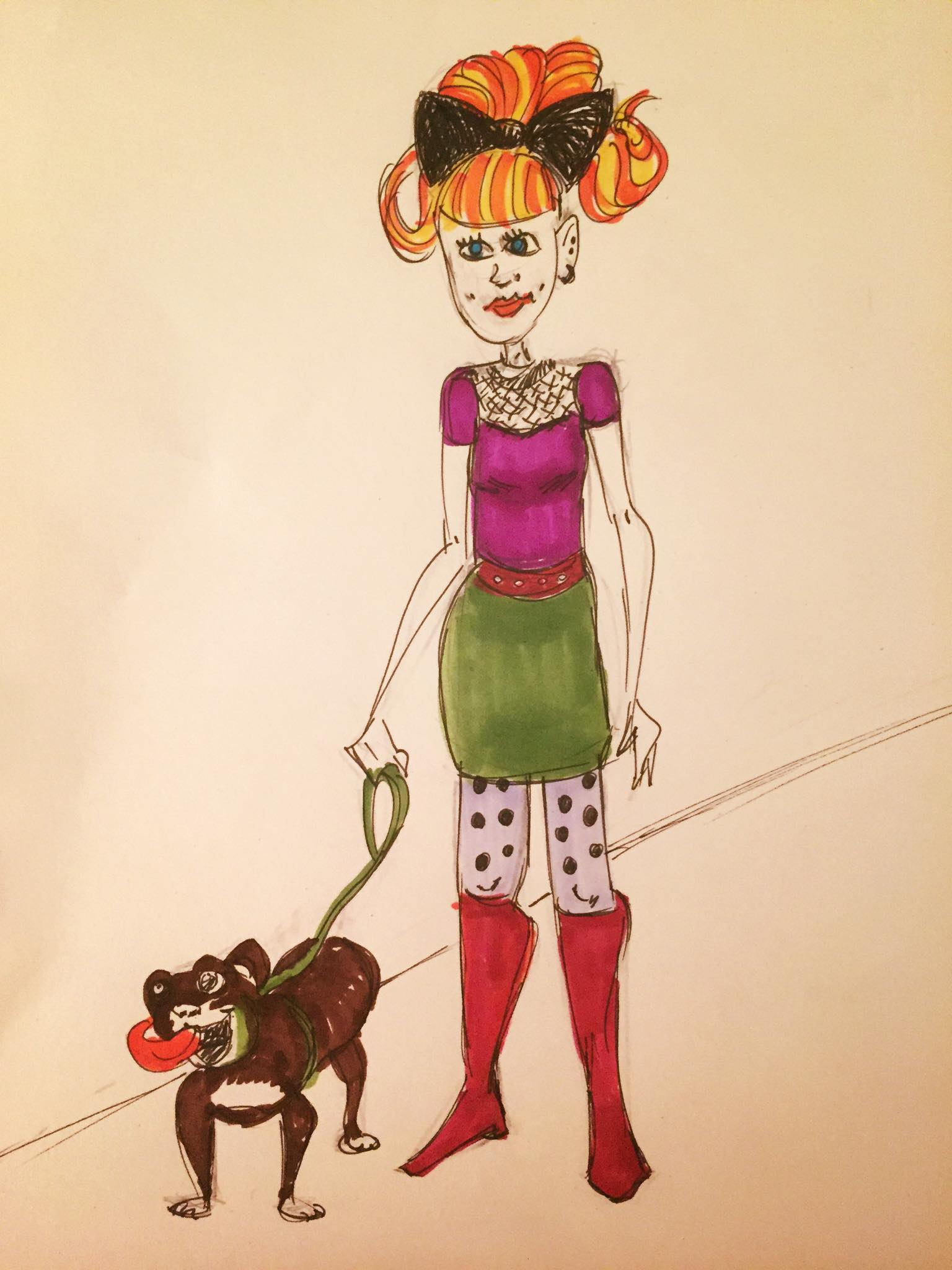 Girl and dog colored