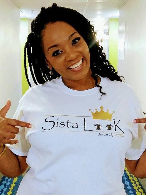 White Crew NecK, Short Sleeve Sista LooK Tshirt