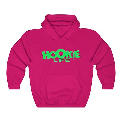"""Hookielife """"OG"""" Hoodie w. neon green logo"""