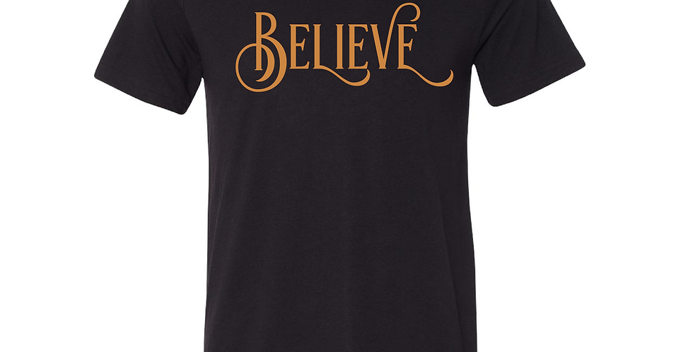 Gold Glitter Believe Tee
