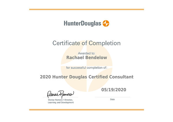 Hunter Douglas Certified Consultant 2020