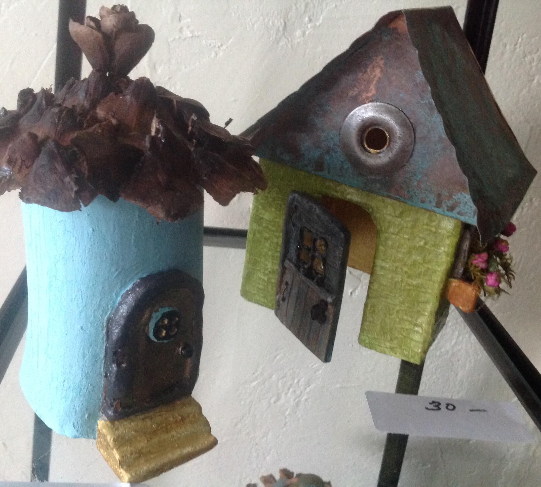 hand-built clay fairy houses