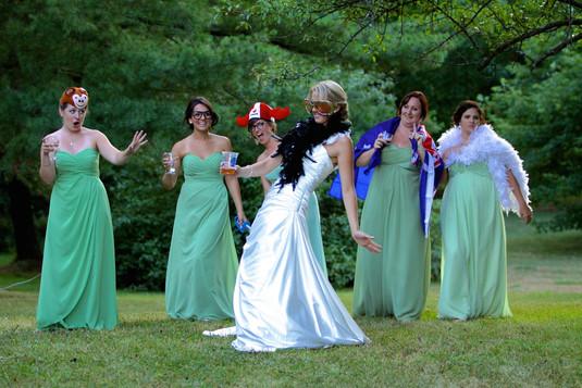 Wedding- Bridal party funny shot w. prop