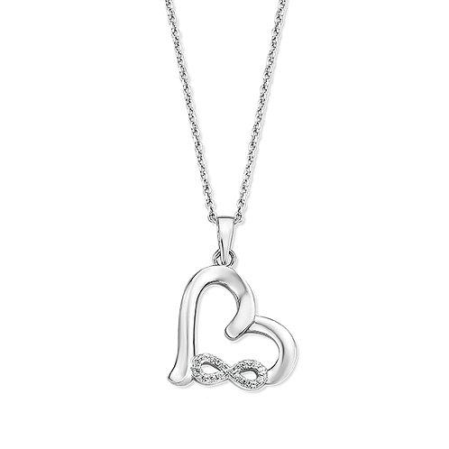 624551 Rosa di Luca zilveren hanger zirconia met collier