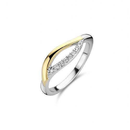 629669 Rosa di Luca zilveren ring verguld zirconia