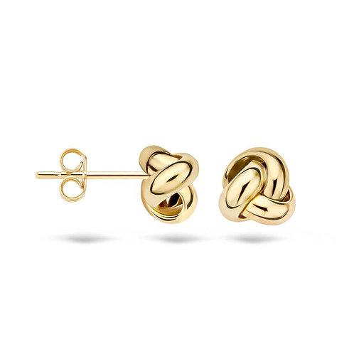 7157YGO Blush oorstekers geelgoud knoop 6.7mm