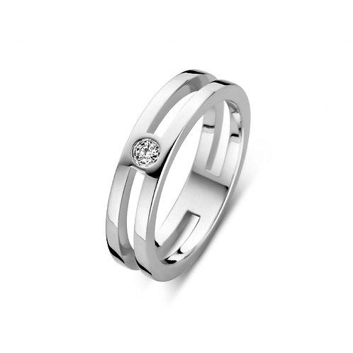 619109 Rosa di Luca zilveren briljant ring 0,06ct