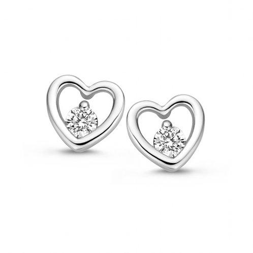 625638A Rosa di Luca zilveren oorknoppen zirconia