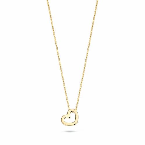 3081YGO Blush collier geelgoud open hart