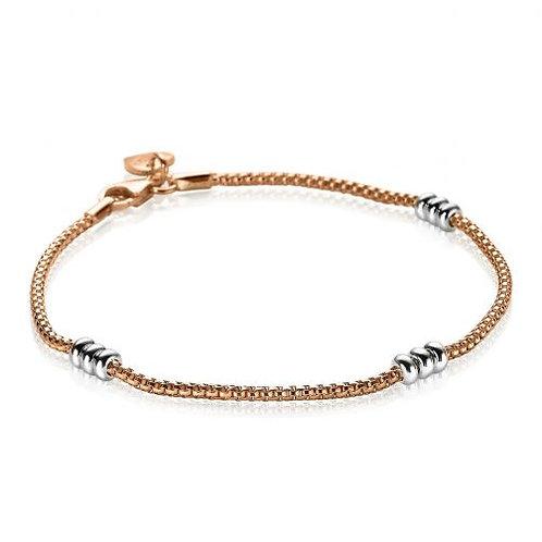 ZIA1421B ZINZI zilveren armband roségoud verguld fantasie 18cm