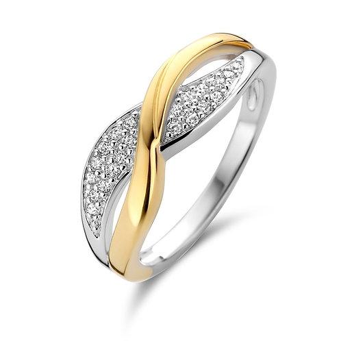 629621 Rosa di Luca zilveren verguld ring zirconia